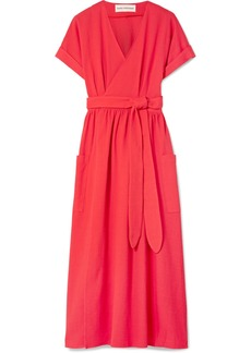 Ingrid textured-organic cotton wrap dress