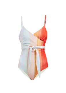 Mara Hoffman Isolde striped wrap swimsuit