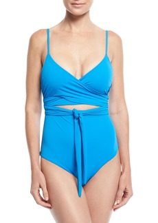 Mara Hoffman Isolde Wrap-Front One-Piece Solid Swimsuit