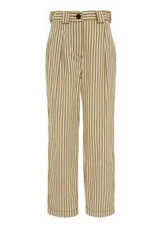 Mara Hoffman Jade Striped Twill Straight-Leg Pants