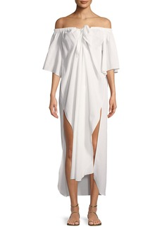 Mara Hoffman Kamala Off-the-Shoulder Short-Sleeve Coverup Dress
