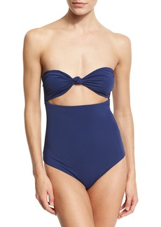 Mara Hoffman Knot-Front Bandeau Cutout One-Piece Swimsuit