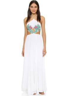 Mara Hoffman Leaf Embroidery Halter Maxi Dress