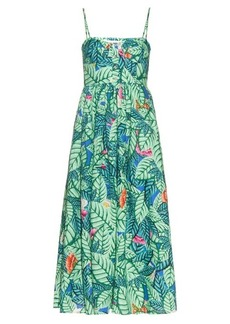 Mara Hoffman Leaf-print linen midi dress