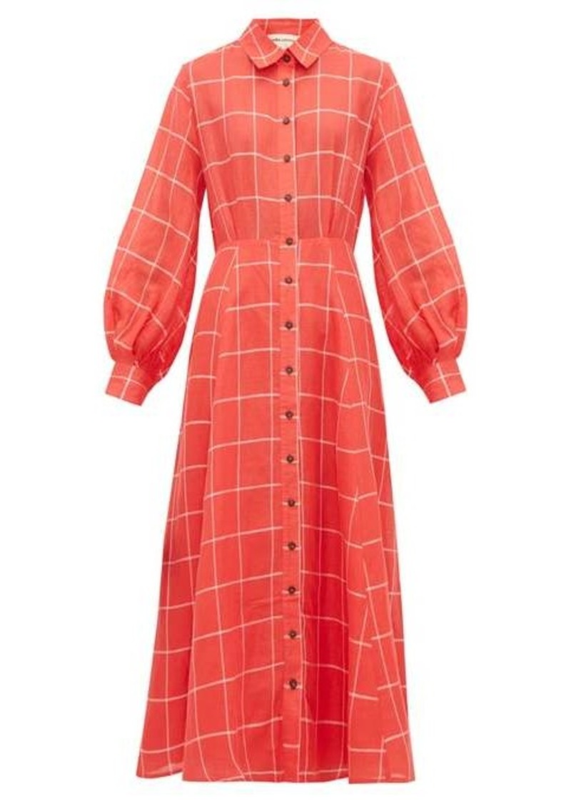 Mara Hoffman Liliana checked linen-blend shirtdress