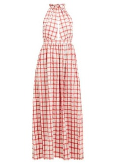 Mara Hoffman Linny checked halterneck cotton dress
