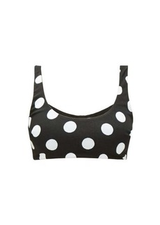 Mara Hoffman Lira scoop-neck polka dot-jacquard bikini top