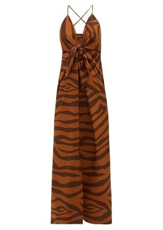 Mara Hoffman Lolita tie-front tiger-print cotton dress
