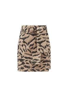 Mara Hoffman Luciana belted tiger-print organic-cotton skirt
