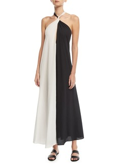 Mara Hoffman Lucille Colorblocked Halter Coverup Dress