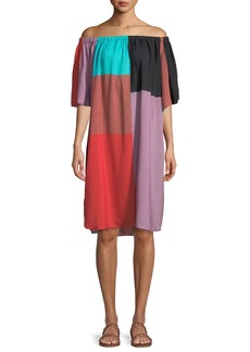 Mara Hoffman Lula Tonal-Striped Colorblock Coverup Dress