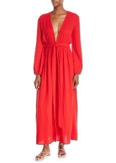 Mara Hoffman Luna Plunging Long-Sleeve Cotton Gauze Maxi Dress