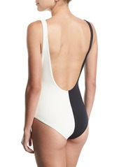 Mara Hoffman Maven Colorblocked Bow-Front One-Piece Swimsuit