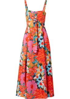 Mei lace-up floral-print Tencel and linen-blend dress