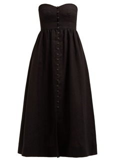 Mara Hoffman Mercedes strapless corseted midi dress