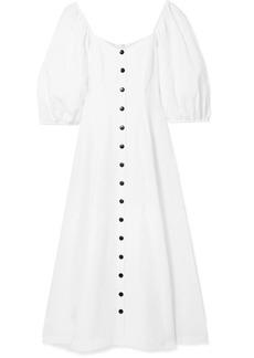 Mika off-the-shoulder Tencel and linen-blend midi dress