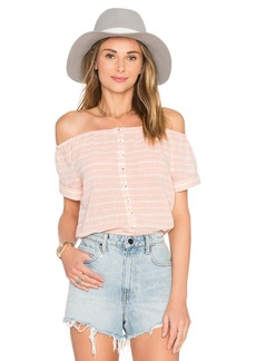 Mara Hoffman Off The Shoulder Button Down Top