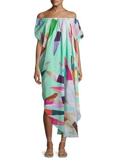 Mara Hoffman Off-the-Shoulder Printed Cotton Gauze Dashiki Coverup Dress