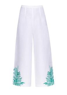 Mara Hoffman Palm-embroidered linen-blend culottes