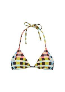Mara Hoffman Plaid Mustard-print halterneck bikini top