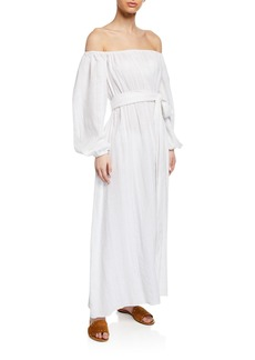 Mara Hoffman Plus Size Malika Off-the-Shoulder Blouson-Sleeve Organic Cotton Maxi Dress