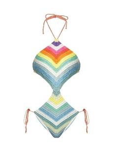Mara Hoffman Prismatic-striped crochet cut-out swimsuit