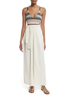 Mara Hoffman Striped Crochet-Tank Jumpsuit