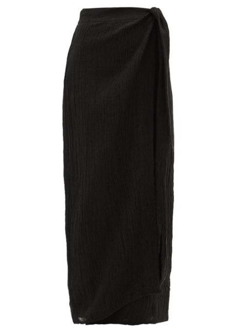 Mara Hoffman Thiago knotted organic linen-blend wrap skirt