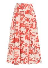 Mara Hoffman Tulay Printed Woven-Hemp Maxi Skirt