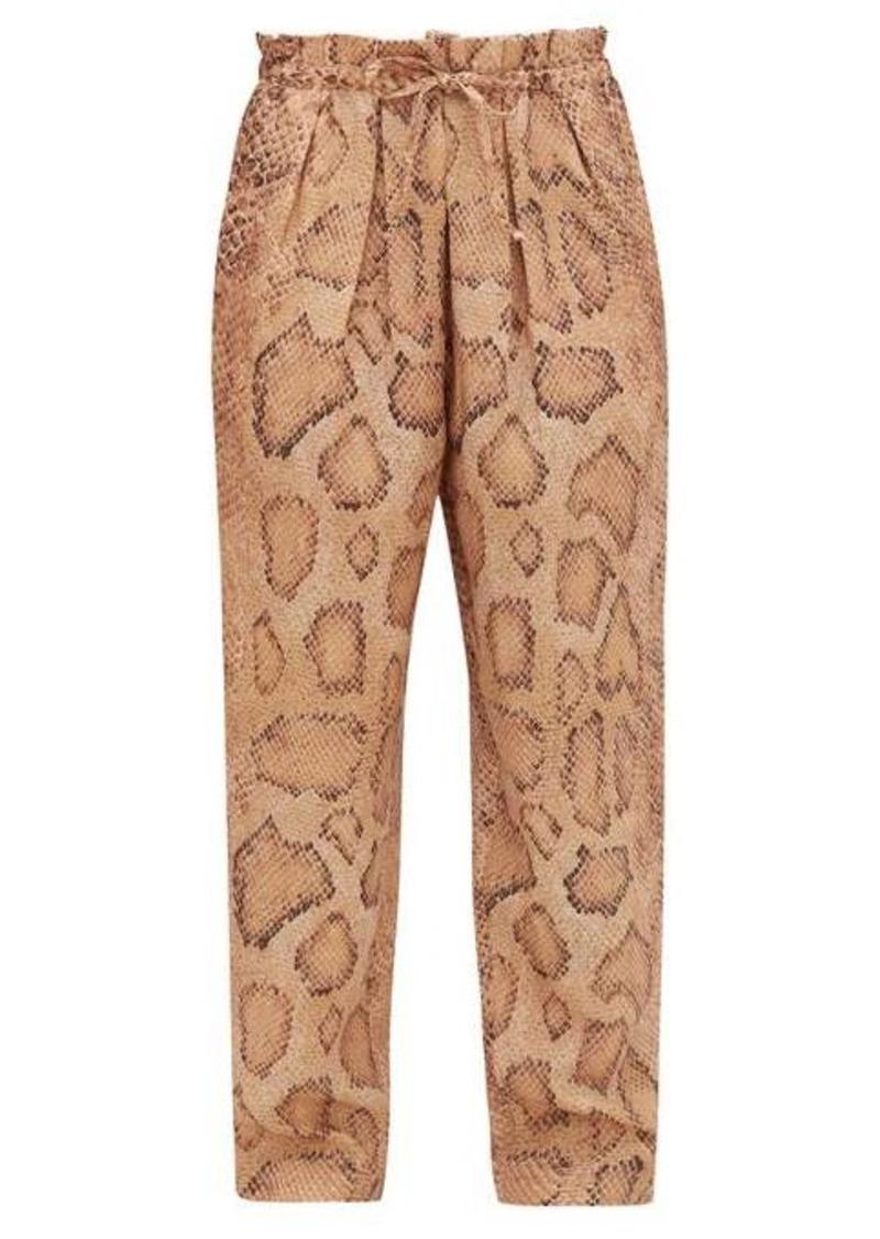 Mara Hoffman Valerie snake-print paperbag-waist trousers