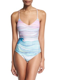 Mara Hoffman Waves Lace-Up Maillot One-Piece Swimsuit