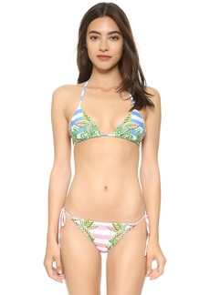 Mara Hoffman Wheatfield Blue Triangle Bikini Top