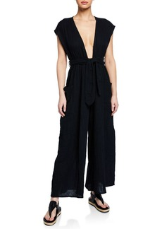 Mara Hoffman Whitney Plunging Cap-Sleeve Wide-Leg Cotton Gauze Jumpsuit