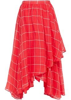Mara Hoffman Woman Akila Wrap-effect Checked Linen And Tencel-blend Midi Skirt Tomato Red