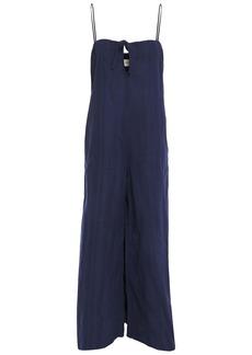 Mara Hoffman Woman Asta Bow-detailed Organic Cotton-jacquard Wide-leg Jumpsuit Navy