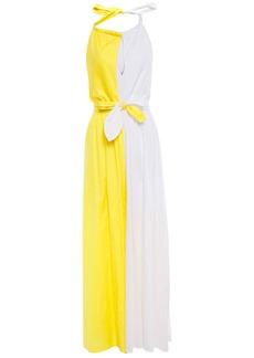 Mara Hoffman Woman Bow-detailed Two-tone Cotton Halterneck Maxi Dress White