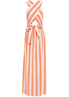 Mara Hoffman Woman Crossover Bow-detailed Striped Cotton Maxi Dress White
