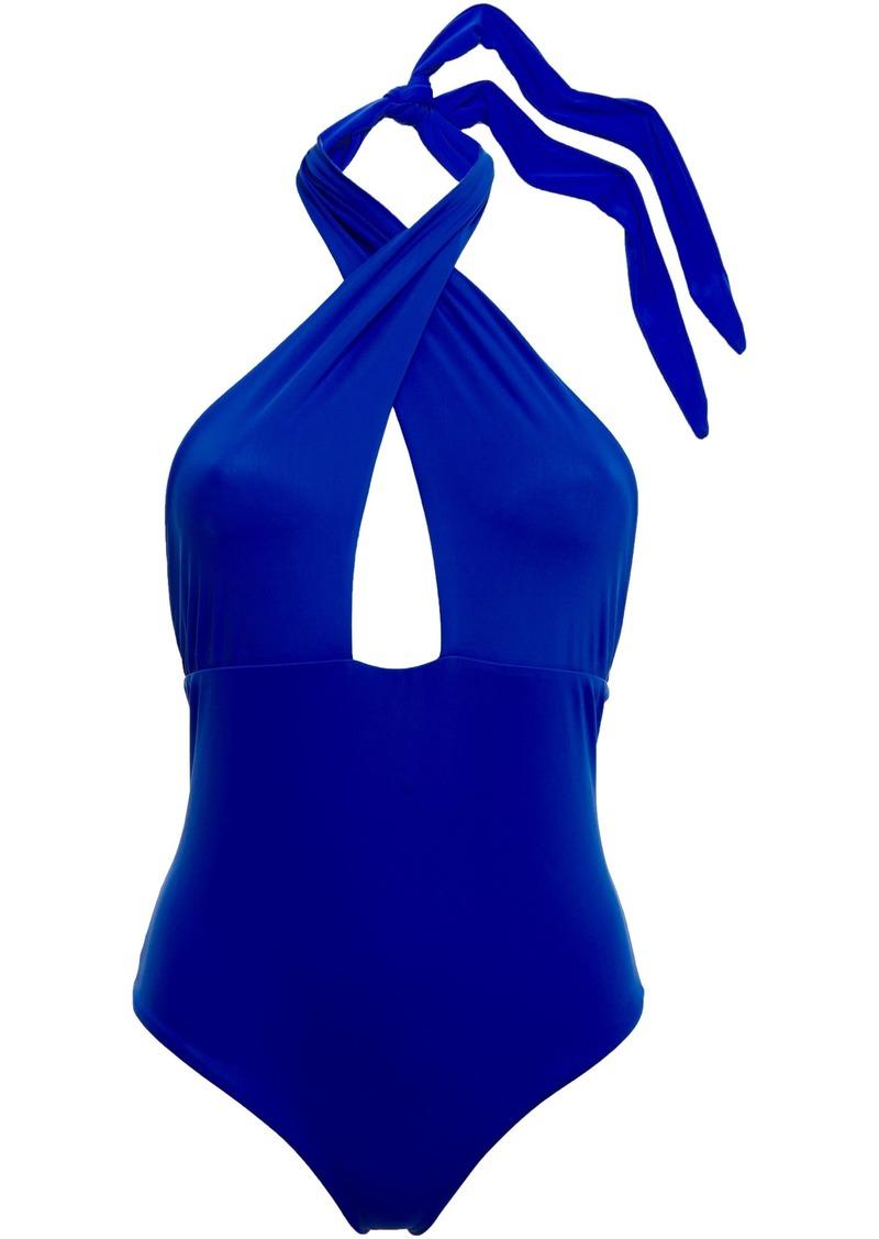 Mara Hoffman Woman Cutout Halterneck Swimsuit Bright Blue