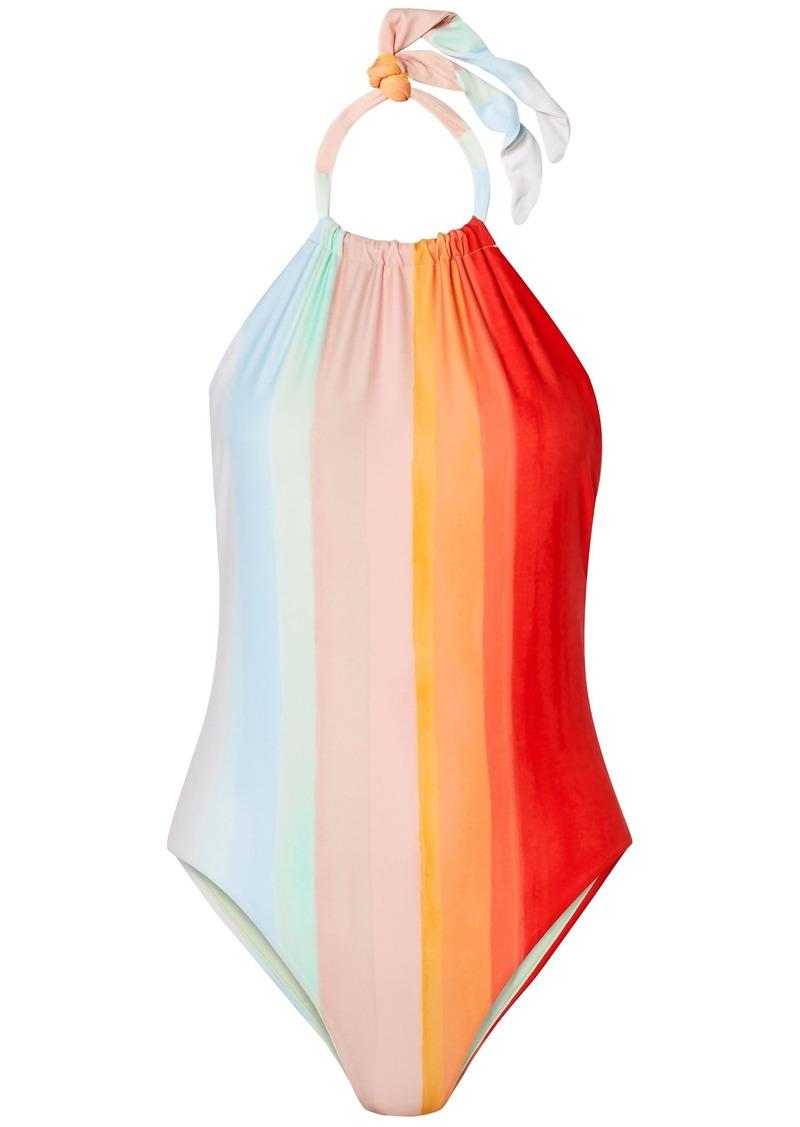 Mara Hoffman Woman Dominique Striped Halterneck Swimsuit Orange