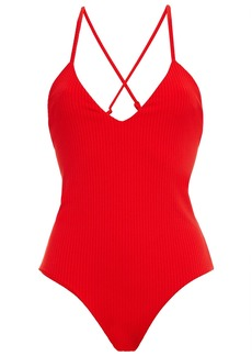 Mara Hoffman Woman Emma Ribbed Swimsuit Red
