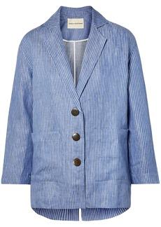 Mara Hoffman Woman Fatima Embroidered Striped Organic Linen-twill Jacket Blue