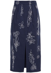 Mara Hoffman Woman Florence Embroidered Organic Cotton-canvas Midi Pencil Skirt Navy