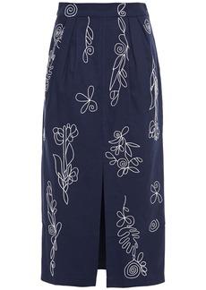 Mara Hoffman Woman Florence Embroidered Organic Cotton-canvas Midi Pencil Skirt Navy