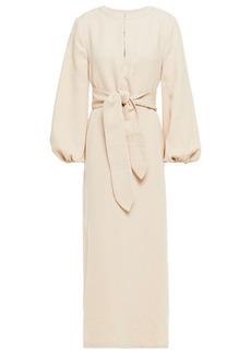 Mara Hoffman Woman June Belted Organic Cotton And Linen-blend Crepe Midi Dress Cream