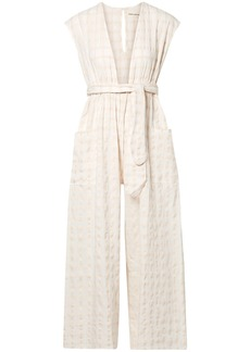 Mara Hoffman Woman Whitney Cropped Checked Organic Cotton-canvas Jumpsuit Off-white