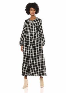 Mara Hoffman Women's Black and White Plaid Long Sleeve Paula Dress