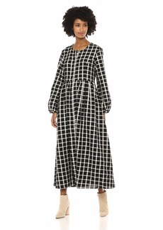 Mara Hoffman Women's Black and White Plaid Long Sleeve Paula Dress