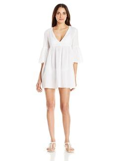 Mara Hoffman Women's Checkered Gauze Bell Sleeve Mini Dress Cover up  XS