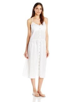 Mara Hoffman Women's  Checkered Gauze Drop Waist Placket Midi Dress Cover