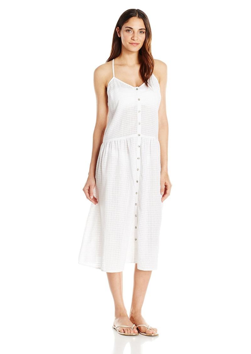 Mara Hoffman Women's Checkered Gauze Drop Waist Placket Midi Dress Cover up